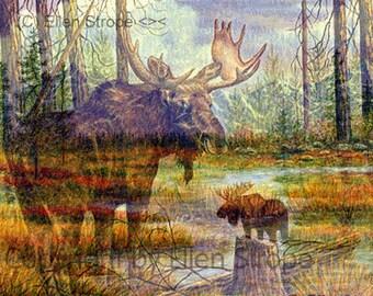 NOTE CARD, multi exposure, moose, forest, water, trees, bull moose, cabin decor, rustic decor, moose decor, mountains, Ellen Strope