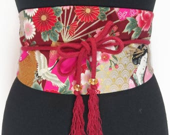 Obi belt in geishas printed japanese cotton and cordon with pompons