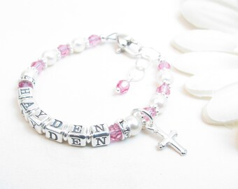 Personalized Bracelet for Newborn Infant Baby Little Girl - Girl Baptism Christening Confirmation First Communion Gift - Baby Name Bracelet