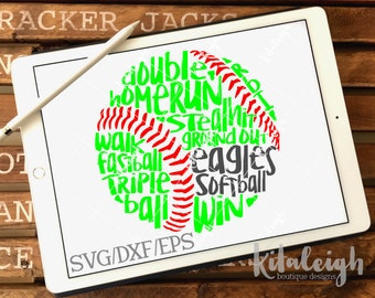 Messy Eagles Softball INSTANT DOWNLOAD in dxf, svg, eps for use with programs such as Silhouette Studio and Cricut Design Space