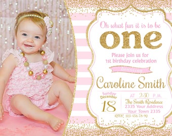 ONE Invitation. 1st Birthday Party Invitation. Girl First Birthday Invitation. Pink and Gold Girl. Any age. With photo. Confetti.