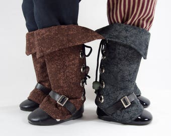 """Pirate boot spats for 18"""" dolls, Black or Brown cuffed shoe covers, gaiters. Muskateer, cavalry, steampunk costume. Thigh high boot covers."""