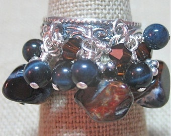 Blueberries Cluster Ring Featuring Deep Blue Pietersite & Aventurine - R086