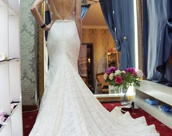 lace Wedding dress,  open back dress Vizantia