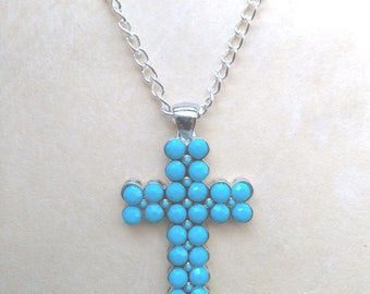 Large Cross with Faceted Blue Cabochons, Heavy Cross Pendant, Faith Christianity, Christian Jewelry - Silver Cross by enchantedbeas on Etsy