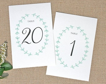 Rustic Laurel Wedding Table Numbers - Printed or Printable