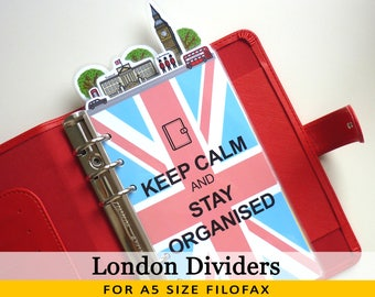 A5 Size Cute Kawaii London DIY Dividers 5 Top Tabs for Filofax Kikki.K Louis Vuitton Planner Printable PDF Instant Download