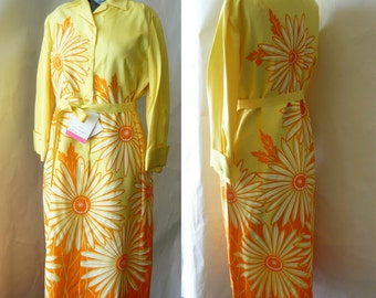 Vintage 60s Hand Printed Shift Dress/ size  6 8 10 small / GRAPHIC Daisies Mod Yellow Orange / Miss SERBIN Never Worn with tags