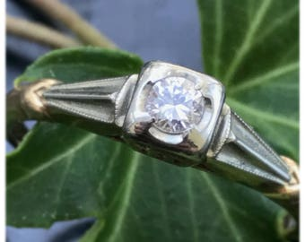 Vintage 14K and 18K Gold Diamond Ring