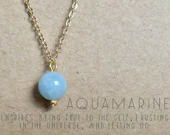 Aquamarine Necklace. Delicate Crystal Necklace. Mood-Boosting Jewelry. Crystal Healing.