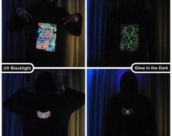 Chakra Girl UV Black Light Fluorescent & Glow In The Dark Phosphorescent Psychedelic Psy Goa Trance Art Club Mens Hoodie