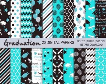 Graduation digital paper, graduation printable, personal commercial use, Grad, Graduate digital, Graduation, 20 digital paper, Mint Graduate