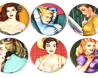 Retro Pin Up Girls - Set of 6 Large Fridge Magnets