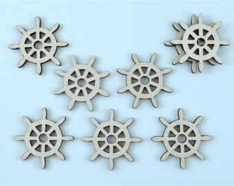 Lot of Ship's Wheel, Steering Wheel, Boat Wheel Silhouette, Shape, Cutout, Wood, Plywood - 1129