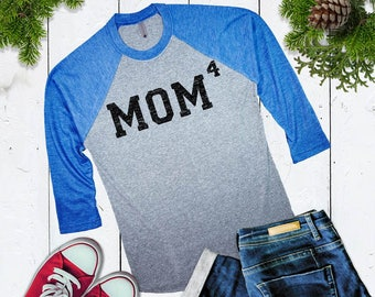 Cute MOM4 baseball shirt Mom of 4 Baseball Shirt Mom of Four Womens 3/4 sleeve raglan Christmas Gift For Mom Cute Mothers Day Gift For Wife