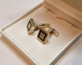 Cuff links of cufflinks 925 Silver stell design solid old MS137