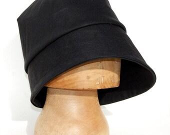 Handmade rain hat  black cotton cloche hat womens fashion hat  French hat  Black bucket hat ZUTamelie designer hat in rainproof waxed cotton