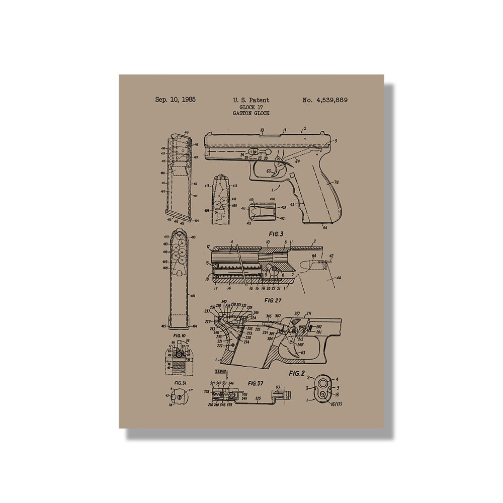 Glock 17 handgun military and weapons patent poster zoom malvernweather Image collections
