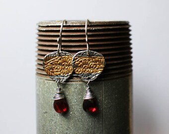 24k Gold and Silver Earrings - boho gift for mom - gift-for-her - garnet - sara westermark - etsymetal team - keum boo - 24k gold - January
