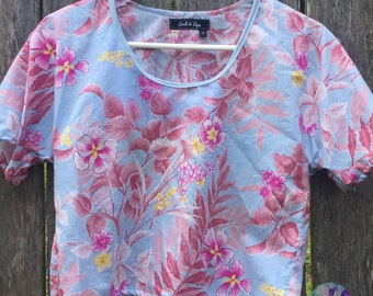 Ready to ship - Ladies Blouse - Crop Top - Floral - Upcycled - Australian Made - Cotton Top