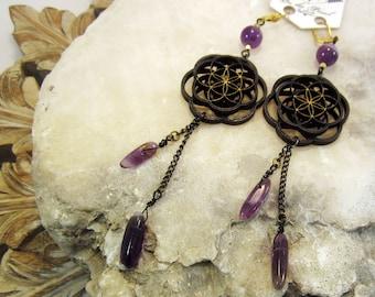 amethyst, sacred geometry jewelry, seed of life, laser cut, mandala, flower of life, laser cut jewelry, wood earrings, phresha