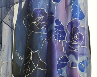 Blue roses/Painted silk scarf/Hand Painted Silk scarf/Woman long scarf/Woman luxury scarf/Silk scarf/Blue roses/Painted flowers/ S0164