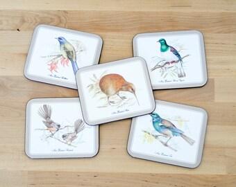 Vintage Jason Coasters • Nouvelle-Zélande oiseaux • ensemble de cinq • ornithologie Illustrations scientifiques botanique biologique •