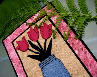 Tulip Garden Wool Burlap and Cotton Wallhanging or Table Mat