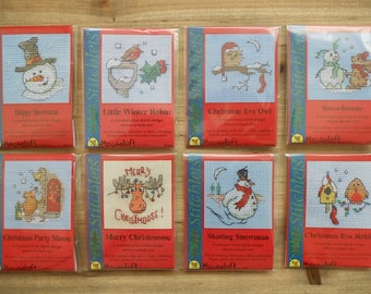 Small Christmas Cross Stitch Kit - Choice of 8 Designs - Card not included - Stocking Filler Stuffer Snowman Owl Robin