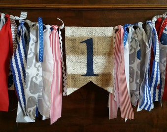 Nautical First Birthday, Nautical Banner, Nautical Party, Beach Theme, Nautical Birthday, 1st Birthday Boy, First Birthday Nautical