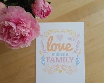 Love Makes a Family- Cool Orange Sherbet (Yellow Heart) Digital Art-Print, Printable Home Decor- Scandi with flower and vine motif