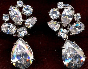 Cubic Zirconia Silver-tone Dangling Earrings for Pierced Ears Only (D)