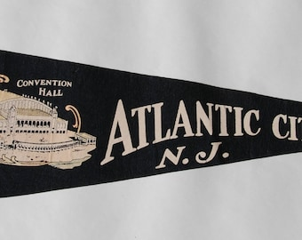 Genuine Vintage 1950s-'60s era Atlantic City Convention Hall Felt Pennant — Free Shipping!