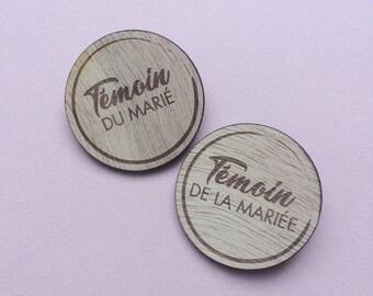Badges aimantés bois ronds (témoins/famille/prénoms)