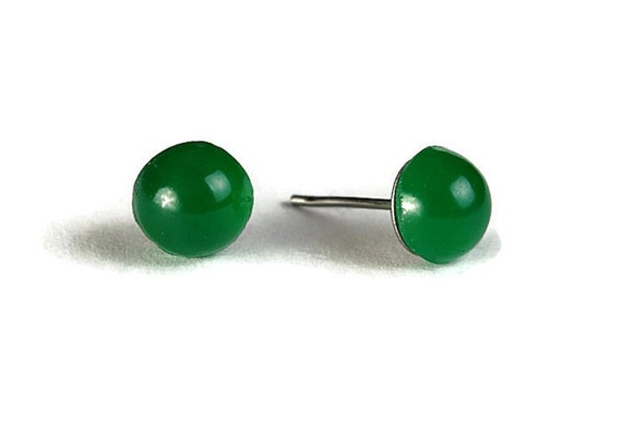 Petite green cabochon earrings with surgical steel hypoallergenic stud (264)
