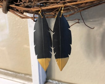 Gold dipped recycled bike tire earrings