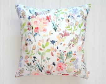 Botanical Mix No2 Watercolor Floral Pillow Covers, Designer Fabric, 18x18, 20x20, 14x20, 12x21