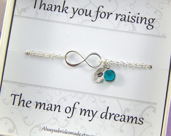 Mother of the Groom Gift Boxed Bracelet, Sterling Silver Personalized Infinity Birthstone  Bracelet, Gift Boxed Bracelet For Mother in Law