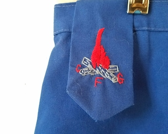 Vintage Campfire Girls Skirt in Navy Blue with Embroidered Logo on Tab- Size 8/10 - Excellent Condition