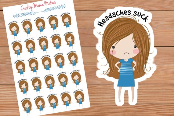 Headache planner stickers cute girl sticker happy planner erin condren planner from craftymamamakes on etsy studio