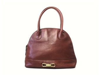 Leather purse, leather bag, domed purse, domed bag, domed satchel, brown leather purse, brown leather bag, cordovan bag, tan bag,