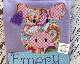 Paisley Pig with tag-applique lettuce edge tee