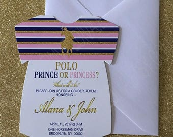 Polo Prince or Princess Gender Reveal Invitation, Polo Prince or Princess Onesie, Polo Themed Gender Reveal, Gender Reveal Invitation