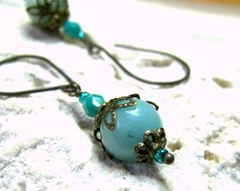 ON SALE Turquoise Blue Aventurine Short Dangle Earrings Vintage Earrings Gifts for Women gift for her Turquoise drop earrings