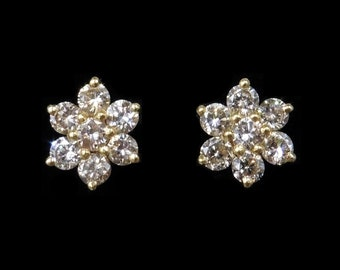 Genuine Diamond 9ct Yellow Gold Flower Cluster Stud Earrings | Solid Gold | 1.0ctw Old Cut Diamonds | Wedding Bridal Diamond Earrings
