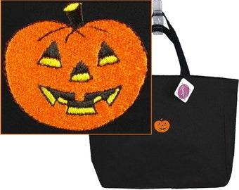 Halloween Jack O'Lantern Pumpkin Monogram Bag Essential Holiday Tote Custom Embroidered