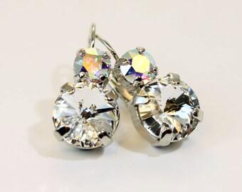 Clear Crystal Earrings Crystal Ab Swarovski drop earrings Clear Bridal Earrings White Crystal Clear Crystal dangle Earrings,ICE ,Silver,SE15