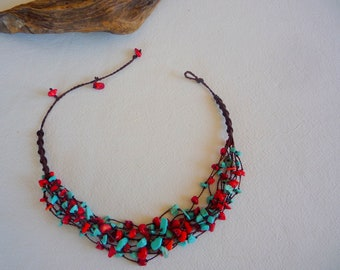 necklace turquoise and red