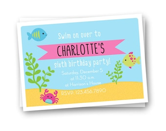 Under the Sea Birthday Invitation, Kids Birthday Invitation, Girls Birthday Invitation