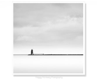 Fine Art Photograph of Poolbeg Lighthouse in Dublin Bay, Clontarf, Ireland.  Black and White Photography Art Print.
